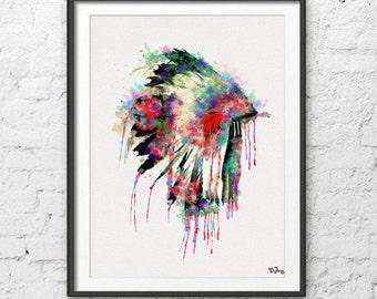 native american headdress art native american poster watercolor print headdress watercolor poster print wall hanging painting watercolor