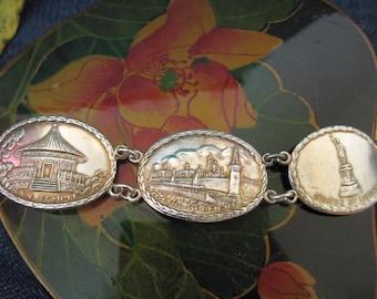 Sterling silver landmark panel bracelet