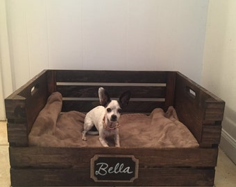 Wooden Dog Bed | Wine Crate Dog Bed for Medium Sized Dogs | FREE SHIPPING!