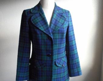 vintage 70s pendleton womens plaid virgin wool blazer dress jacket