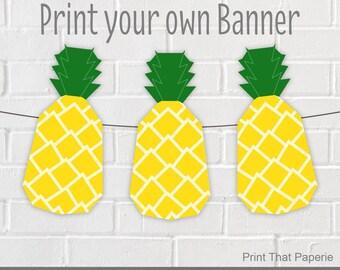 Summer Birthday Banner - Pineapple Party Banner - Pineapple Birthday Bunting - Summer Party Banner