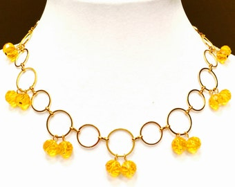 Yellow Crystal Necklace FREE SHIPPING!!!