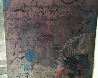 Mixed media art canvas