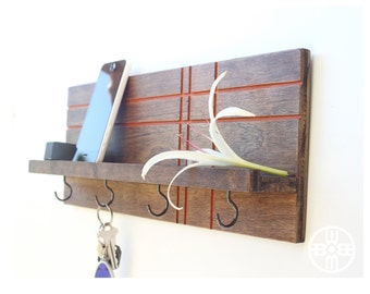 Key Rack Shelf With Hooks, Wall Organizer, Key Holder for Wall, Jewelry Rack, Holiday Gifts, Housewarming Gifts, Hanging Key Rack, Shelf