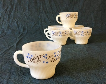 Vintage Termocrisa Blue Floral Milk Glass Swirl Coffee Cups, Set of 6