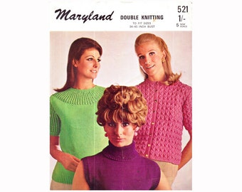 Genuine Vintage 1960s Maryland Set of 3 Ladies GROOVY Polo-Neck Top Lacy-Yoke Sweater and Cardigan Knitting Pattern