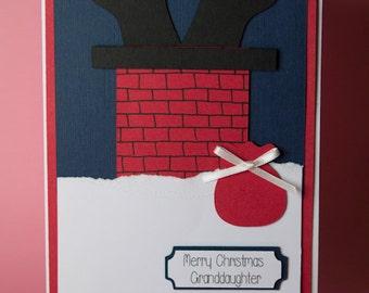 Santa Down Chimney Handmade Christmas Card