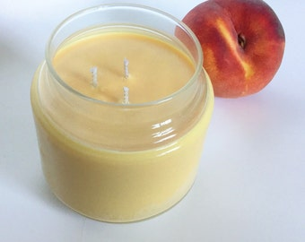 Peach Nectar Candle/ 3 wick/ Large 16 oz Natural Soy wax/ refillable/ zero waste/ Summer scent/ FREE SHIPPING