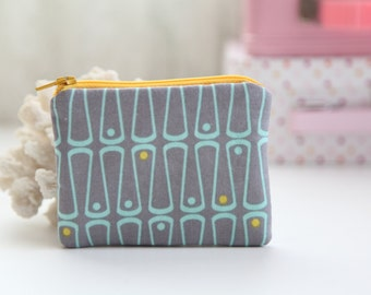 Grey Yellow Coin Zipper Purse, FREE SHIPPING with another purchase, Padded Purse, Coin Pouch, Change Purse, Zipper Pouch, Little Purse