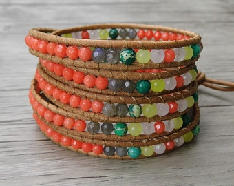 bead wrap bracelet boho bead bracelet gemstone wrap bracelet gypsy leather wrap bracelet multi color bead bracelet wrap Jewelry SL-0314