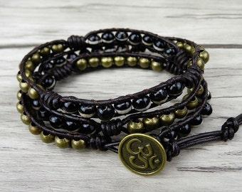 Eye Agate beads Leather wrap Bracelet Black beaded Wrap Bracelet 3 Rows Bracelet Bronze beads Bracelet Boho Bacelet  SL-0088