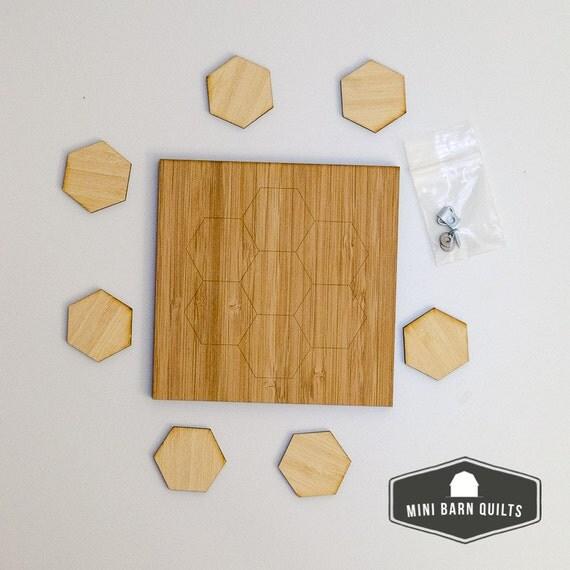 hexi flower mini barn quilt kit wooden adult craft kit. Black Bedroom Furniture Sets. Home Design Ideas