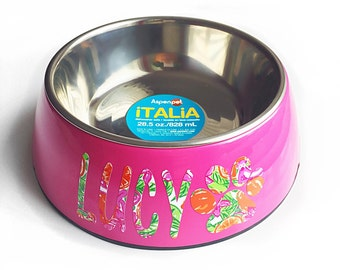 Large 28.5 oz dog bowl pet cat puppy food water pink personalized