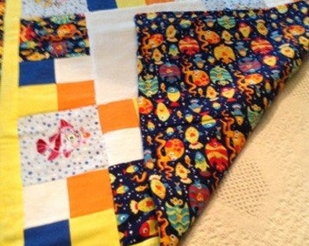 "Swimming with the Fishes Quilt, Handmade Embroidered Quilt, Fish Quilt, Fish Blanket,this is a crib size 43""l x 33""w"