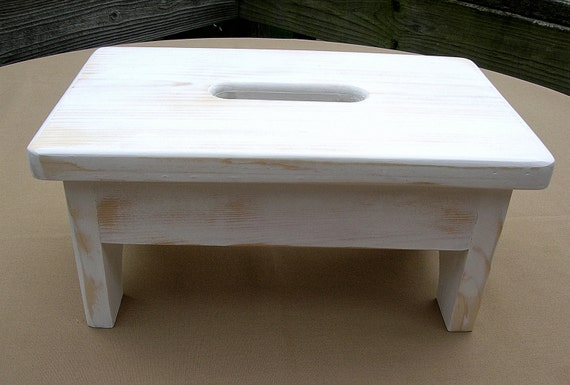 Small Wooden Stool Stepstool Bench White Nursery Bathroom