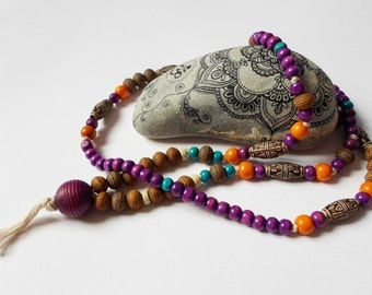 Colorful Purple Boho Necklace, Gipsy Style Necklace, Long Beaded Necklace, Hippie Ethnic Necklace, Christmas gift idea Eco friendly Jewelry
