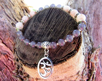 Beautiful dreamy agate and jade Om bracelet with Tibetan silver separators for self love