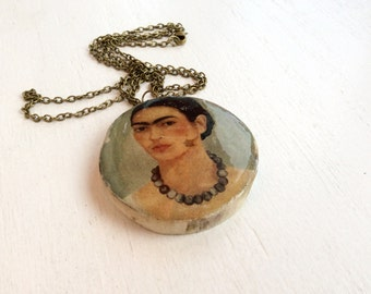 Frida Kahlo Pendant  Necklace made with Reclaimed Driftwood Gift for Art Teacher or Frida Kahlo Fan Ecological Jewelry