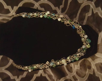 Blue-green wire crochet necklace