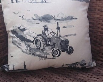 tractor vintage style cushion cover,  gift for farmer, dad or grandad grey and white car cushion cover pillow
