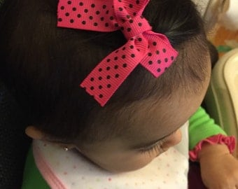 Mini hair bow clips/polka dots