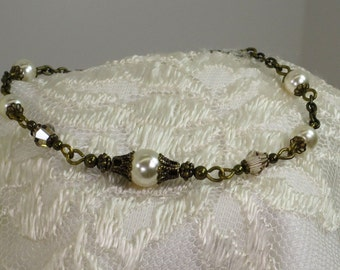 Antique Brass, Vintage Cream Pearl & Champagne Crystal Bracelet