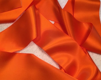 Orange Satin Ribbon/Orange Bridal Dress Sash/Orange Bridal Belt/Orange Satin Sash/DIY Bridal Belt/Orange Wedding Belt/Orange Ribbon Sash
