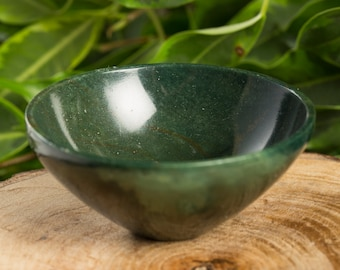 Green Blood Stone Handcarved  73 mm Pure Gem Stone Bowl