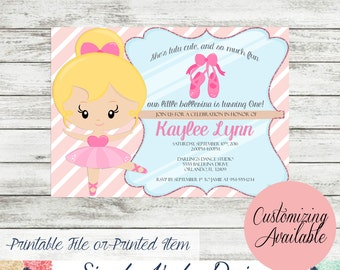 Ballerina First Birthday Invitation
