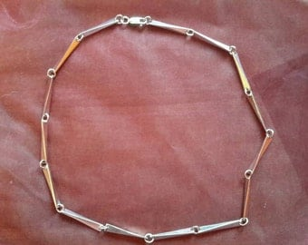Hand forged sterling silver Wedge link necklace.