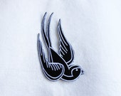 1x Swallow bird pinup Rockabilly Black & White Iron On Embroidered Patch Applique