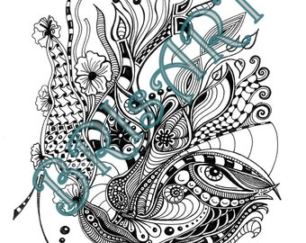"Zentangles Download coloring ZENZIA ""FACE 4"" made by BRI, Ausmalbild, Malvorlage, Adult coloring, Vorlage zentangle, zendoodles, doodles,"
