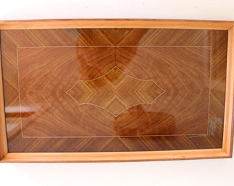 SALE - Vintage Wood and Glass Serving Tray