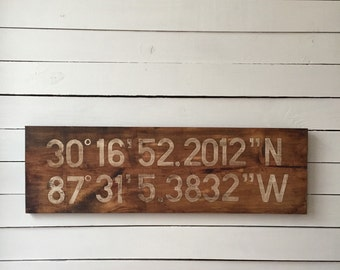 Personalized Latitude and Longitude, GPS Coordinate Sign for Wedding or Home