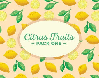 INSTANT DOWNLOAD! Citrus Fruit Pack One: 5 Digital Scrapbook Papers