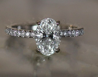 Oval Diamond Engagement Ring - Set in Platinum Diamonds Down Shank