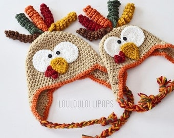 Crochet Turkey Hat | turkey earflap hat, crochet Thanksgiving hat, kids turkey hat, baby turkey hat, turkey feathers hat, thanksgiving gifts