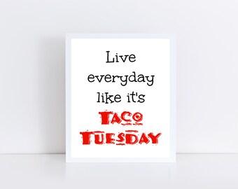 Taco Tuesday Printable, Mexican Food Printable, Food Printable, Kitchen Decor, Instant Download 8x10
