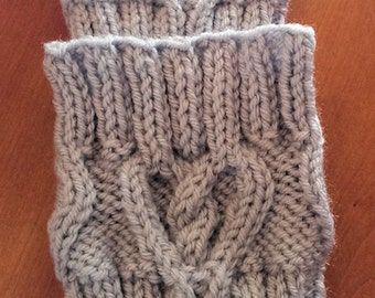Hand Knit Boot Topper, Boot Cuff, Heart Design