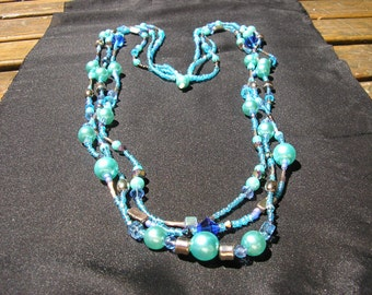 BLUE 3 STRAND NECKLACE