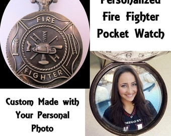 """Custom Made Fire Fighter Fireman Fire Dept Pocket Watch with Your Photo w/31"""" Chain OR 14"""" Belt Chain Vintage Style"""