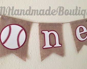 "Baseball ""one"" Cake Smash / High Chair Burlap Banner"