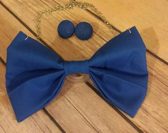 Royal blue bowtie necklace set with earrings, blue bowtie set, ladies bowtie necklace, bowtie necklace, blue bowtie necklace