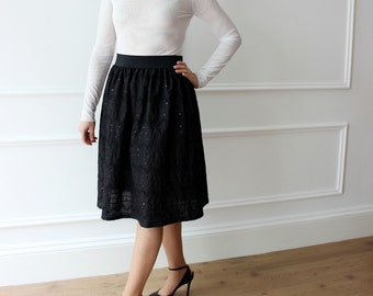 black skirt, elegant skirt, skirt, skirt, skirt, skirt chic cotton evening sequins, gathered skirt, skirt 50 years