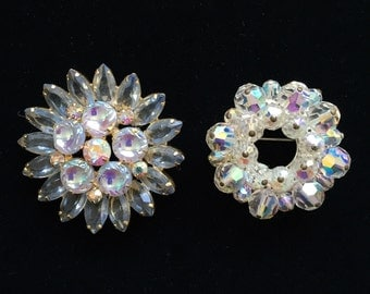 Vintage 1940's Rhinestone Brooches/Pendants • Two Available • Great Condition • Sparkly & Festive!