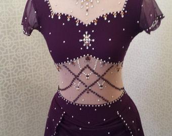 Custom made Del Arour figure skating dress with Swarovski crystals