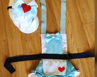 Alice in wonderland inspired romper,romper,baby romper,girls,romper,alice in wonderland headband ,cute outfit