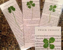 Harry Potter Upcycled 4-leaf Clover Bookmarks - made from book pages with real clovers - Felix Felicis - Lucky four leaf clover