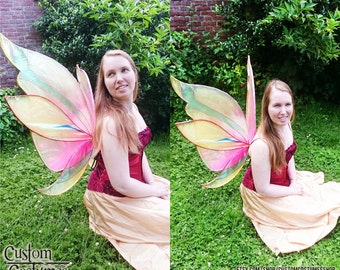 Pink and Gold Fairy, Festival-proof and extremely durable wings. Winx Club Inspired
