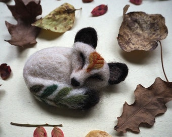 Needle felted arctic fox brooch